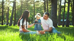 Pretty toddler girl with parents enjoy summer on green grass in sunny park. With lens flare effect. caucasian family with little girl spend leisure time stock video footage