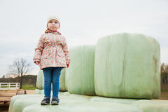Pretty toddler girl stand on haylage, feel freedom. Rich harvest Royalty Free Stock Photo