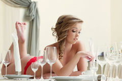 Pretty topless model posing with wine glasses. Close-up Stock Images