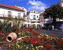 Pretty town square, Ravello. Stock Photo