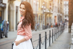 Pretty trendy girl posing at the city in Europe, Royalty Free Stock Photography