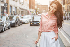 Pretty trendy girl posing at the city in Europe, Royalty Free Stock Image