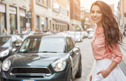 Pretty trendy girl posing at the city in Europe, Royalty Free Stock Images