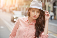 Pretty trendy girl posing at the city in Europe, Stock Photos