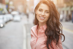 Pretty trendy girl posing at the city in Europe, Royalty Free Stock Photo