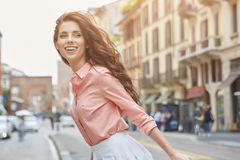 Pretty trendy girl posing at the city in Europe, Royalty Free Stock Photos