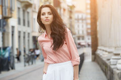 Pretty trendy girl posing at the city in Europe, Stock Images