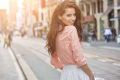 Pretty trendy girl posing at the city in Europe, Stock Photography