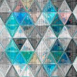 Pretty triangle background in light colors sky blue, white, gray, effect patchwork knitted texture Stock Photography