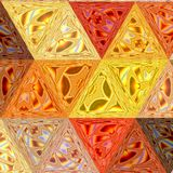 Pretty triangle background in orange, yellow and red colors, sunny background effect patchwork transparent glass effect. Pretty triangle background in orange Royalty Free Stock Photos