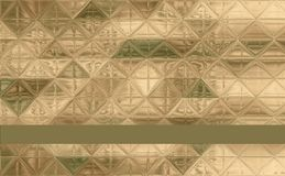 Pretty triangle camouflage pattern green, khaki, brown, ivory. Triangle camouflage pattern green, khaki, brown, ivory with ribbon and trim for text Stock Images