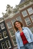 Pretty tunisian girl. In front of amsterdam houses Stock Image