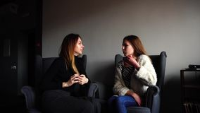 Pretty two girls discuss secrets of beauty and sit in gray armchairs in stylish cafe on winter day.n. Fine young women chatting sitting in gray comfortable stock video