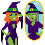 Pretty Ugly Witch Mirror Reflection Royalty Free Stock Photos