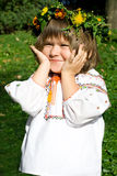 Pretty Ukrainian girl. Pretty little girl dressed in Ukrainian folk costume royalty free stock images