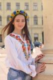 Pretty ukrainian girl in Lviv street Royalty Free Stock Images