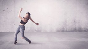 Pretty urban dancer with empty background Stock Image