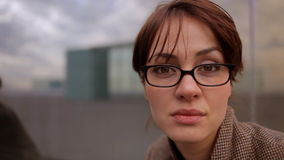 Pretty urban woman stock video footage