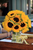 Pretty vase of sunflowers,Summer's favorite flowers Stock Photography