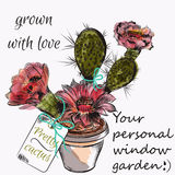 Pretty vector card with hand drawn cactus grown with love Stock Photography