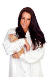 Pretty vet with a cute kitten Stock Photography