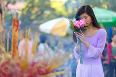 Pretty Vietnamese girl praying Royalty Free Stock Photo