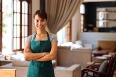 Pretty Vietnamese waitress Royalty Free Stock Image