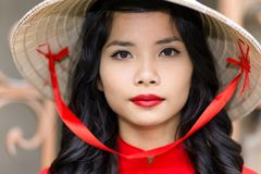 Pretty Vietnamese woman in a straw hat Royalty Free Stock Photography