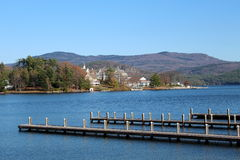 Pretty view of mountains and island from the pier Stock Photo