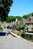 Pretty village street, Castle Combe. Royalty Free Stock Photo