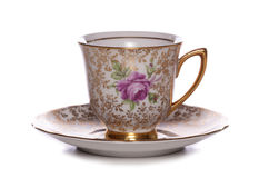 Pretty vintage coffee cup and saucer. Cutout Stock Photos