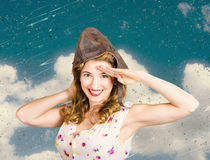 Pretty vintage female pin up pilot. Travel ready Royalty Free Stock Image