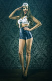 Pretty vintage sailor woman tribute Royalty Free Stock Photo