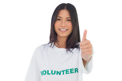Pretty volunteer woman with thumb up Royalty Free Stock Photos