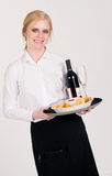 Pretty Waitress Brings Appetizers Wine Food Royalty Free Stock Photo
