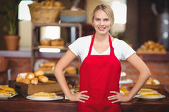 Pretty waitress with hands on hips Stock Images