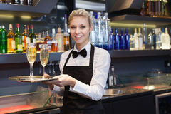 Pretty waitress holding a tray of champagne Stock Photos