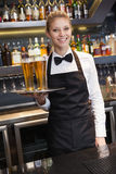 Pretty waitress holding a tray of champagne Stock Photography