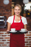Pretty waitress holding a tray with coffees Stock Image