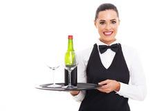 Waitress wine glass Stock Photography
