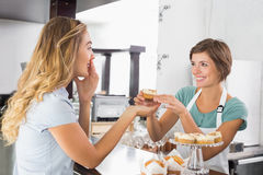 Pretty waitress serving cupcake to customer Stock Photography