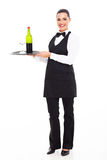Waitress sommelier wine. Pretty waitress sommelier with tray of wine and glass stock images