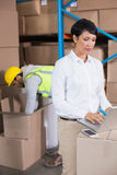 Pretty warehouse manager using laptop Royalty Free Stock Image