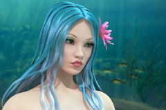 Pretty water nymph. Beautiful water nymph on underwater background 3D render illustration Royalty Free Stock Photo