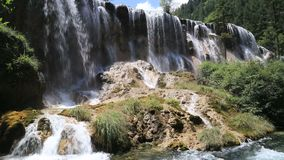 Pretty waterfall. A waterfall in mountain video. It is Jiuzhai Valley National Park, China