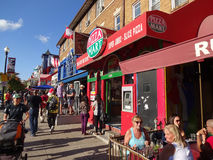 Pretty Weather on Adams Morgan Day. Photo of people and colorful buildings in adams morgan in washington dc on 9/13/15 on adams morgan day. This diverse royalty free stock photography
