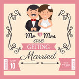 Pretty wedding card with bride groom design graphic Stock Images