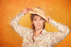 Pretty Western Woman Stock Photography