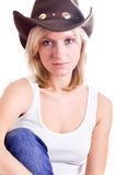 Pretty western woman in hat Stock Image