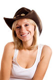 Pretty western woman in hat Royalty Free Stock Photography